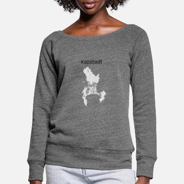 Town stylized street map Cape Town - Women's Wide-Neck Sweatshirt