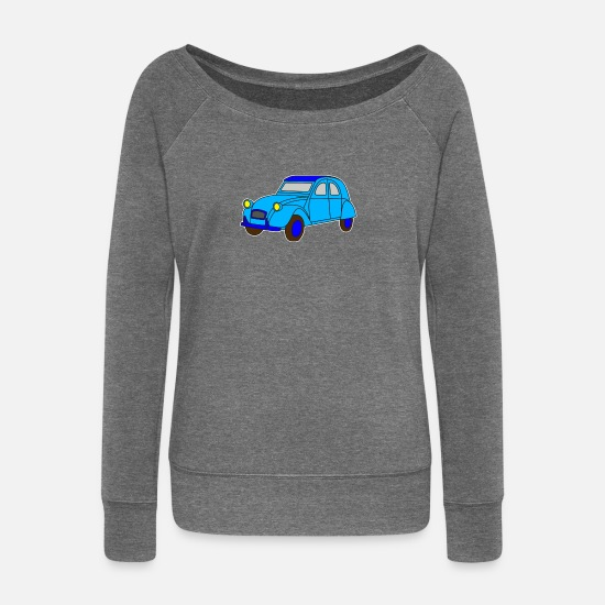 Vehicle Long sleeve shirts - Digi - Ente Oldtimer France Frankreich Hot Rod - Women's Wide-Neck Sweatshirt dark grey heather