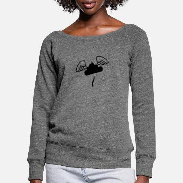 Flying pebble heap with angel wings - Women's Wide-Neck Sweatshirt
