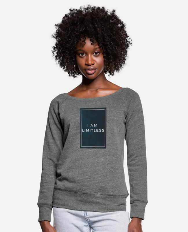 Self-love Long-Sleeved Shirts - Limitless pink frame - Women's Wide-Neck Sweatshirt dark grey heather