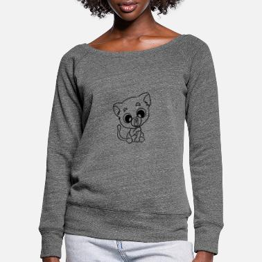 Funny Animals Children's shirt white with funny cute motif - Women's Wide-Neck Sweatshirt