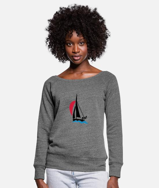Water Long-Sleeved Shirts - Dinghy with spinnaker - Women's Wide-Neck Sweatshirt dark grey heather