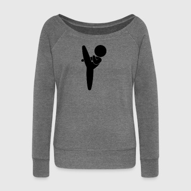 Karate Kid Exerts A Martial Arts - Women's Boat Neck Long Sleeve Top