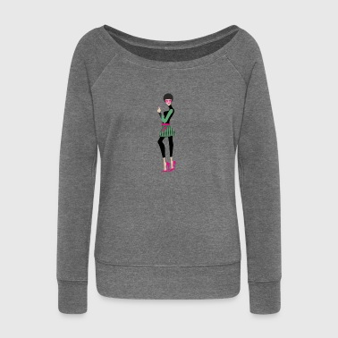 mujer_falda_afro - Women's Boat Neck Long Sleeve Top