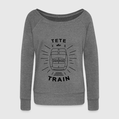 Tete_De_Train_Black_Aubstd - Women's Boat Neck Long Sleeve Top