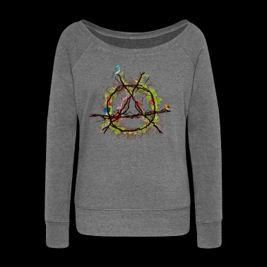 green anarchy logo - Women's Boat Neck Long Sleeve Top