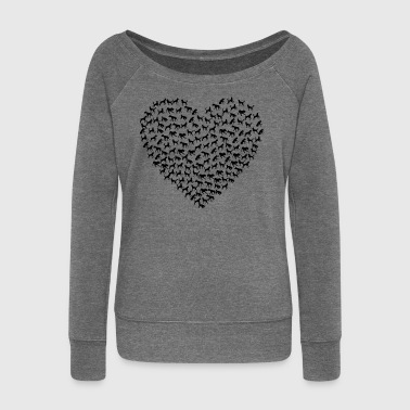DOG HEART. HUND PET DOGS - Women's Boat Neck Long Sleeve Top
