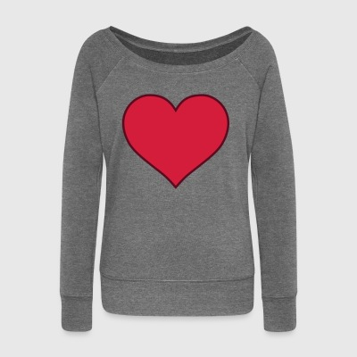 Heart (two-color) - Women's Boat Neck Long Sleeve Top