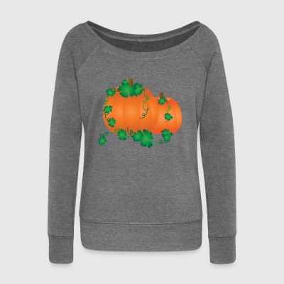 kuerbis pumpkin halloween vegetables vegetables162 - Women's Boat Neck Long Sleeve Top