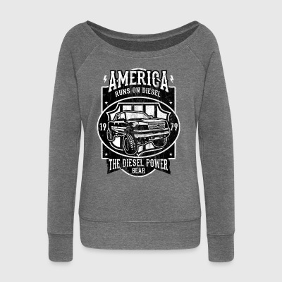 DIESEL POWER - American Car and Car Shirt Motif - Women's Boat Neck Long Sleeve Top