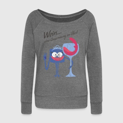 A GLASS OF WINE - Wine drinking cartoon character gift - Women's Boat Neck Long Sleeve Top