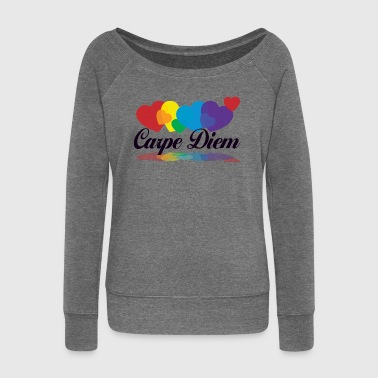 rainbow carpe diem - Women's Boat Neck Long Sleeve Top