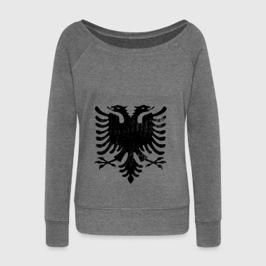 Albanian flag vintage - Women's Boat Neck Long Sleeve Top