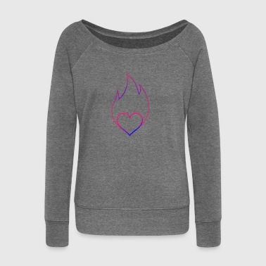 Burning heart flame Valentine's Day gift - Women's Boat Neck Long Sleeve Top