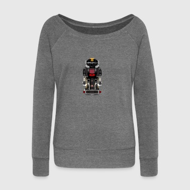 Vintage robot black - Women's Boat Neck Long Sleeve Top
