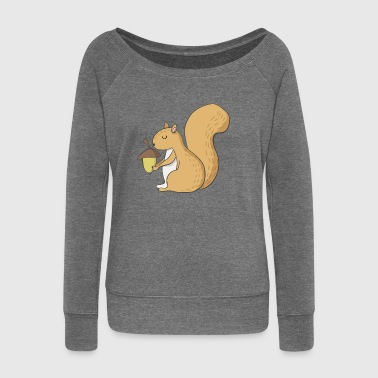 squirrel - Women's Boat Neck Long Sleeve Top