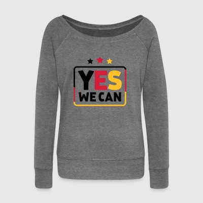 Yes we can Black Red Gold Germany soccer fan - Women's Boat Neck Long Sleeve Top
