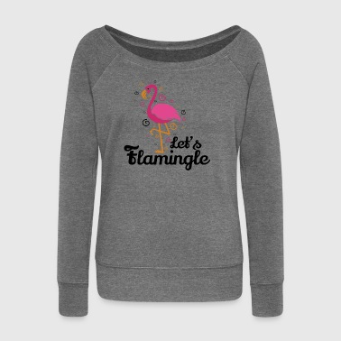 Let's flamingle Funny Flamingo T-Shirt Gift - Women's Boat Neck Long Sleeve Top