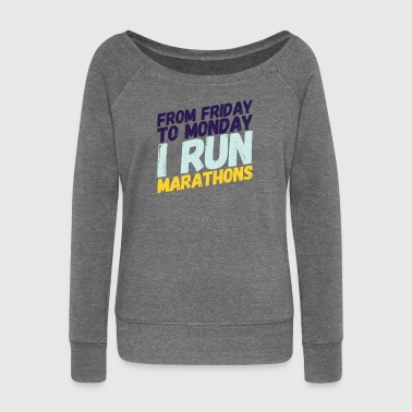 marathon runner - Women's Boat Neck Long Sleeve Top