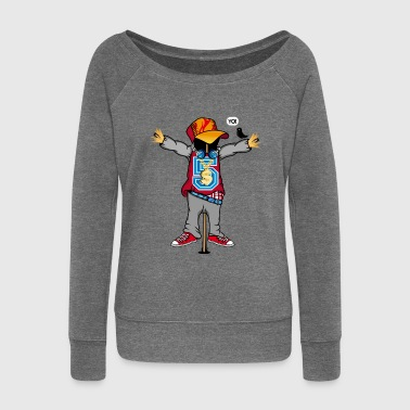 A scarecrow in Hip Hop Style  - Women's Boat Neck Long Sleeve Top