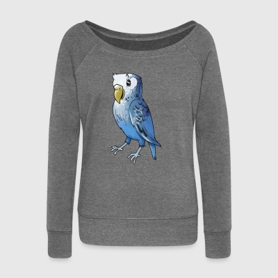 Parrot bird birds cage canary finch - Women's Boat Neck Long Sleeve Top