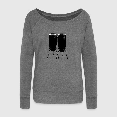 Drums - Women's Boat Neck Long Sleeve Top