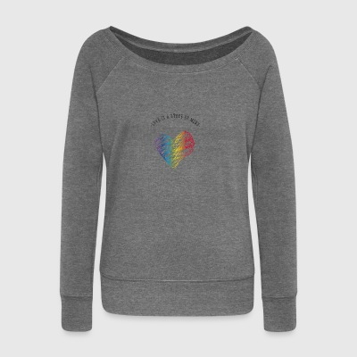 Heart gay rainbow love lines love heart csd de - Women's Boat Neck Long Sleeve Top