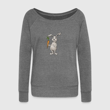 Bunny rabbit carrot Rodent Hare Rodent Hamster - Women's Boat Neck Long Sleeve Top