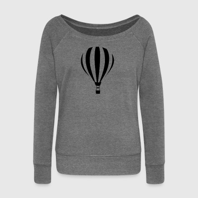 Hot air balloon illustration - Women's Boat Neck Long Sleeve Top