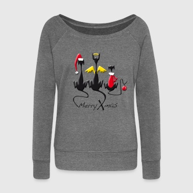 santa_trio - Women's Boat Neck Long Sleeve Top