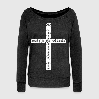 CROSS GAVE UP WHITE PIXEL - Women's Boat Neck Long Sleeve Top