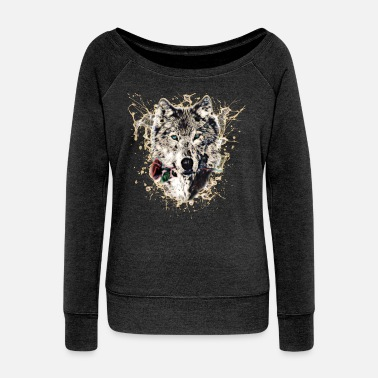 Wolves Wolf with Rose, Love Symbol, Wolves, Nature - Women's Boat Neck Long Sleeve Top