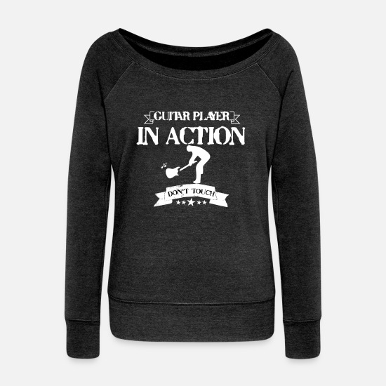 Guitar Player Langarmshirts - GUITAR PLAYER IN ACTION DON'T TOUCH - Frauen Pullover mit U-Ausschnitt Schwarz meliert