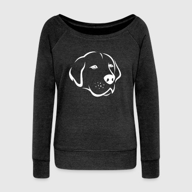 Dog silhouette 6c - Women's Boat Neck Long Sleeve Top