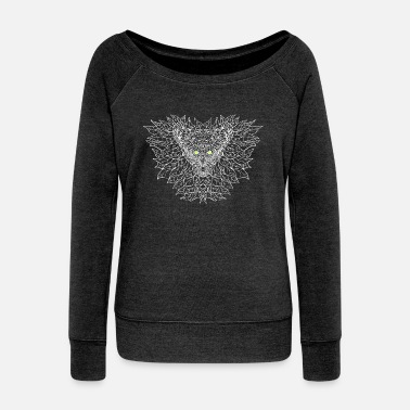 Forest Alien forest spirit bat - Women's Wide-Neck Sweatshirt