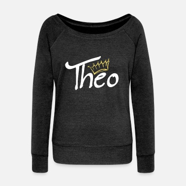 Name Tag Crown name name tag Theo - Women's Boat Neck Long Sleeve Top
