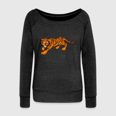 Tiger, tigers, - Women's Boat Neck Long Sleeve Top
