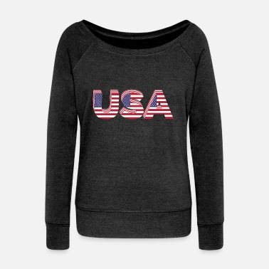 Usa USA - Women's Wide-Neck Sweatshirt