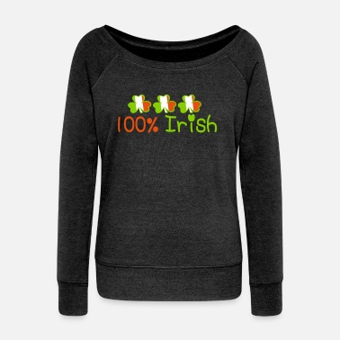Irish ♥ټ☘Kiss Me I'm 100% Irish-Irish Rule☘ټ♥ - Women's Boat Neck Long Sleeve Top
