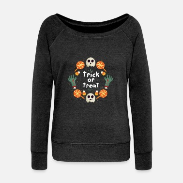 Trick Or Treat Trick or Treat / Trick or Treat - Women's Boat Neck Long Sleeve Top