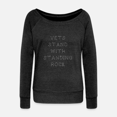 Stand Vets Stand With Standing Rock - Women's Boat Neck Long Sleeve Top