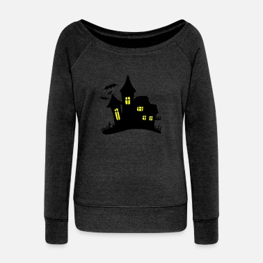 Haunting haunted house haunted house - Women's Wide-Neck Sweatshirt