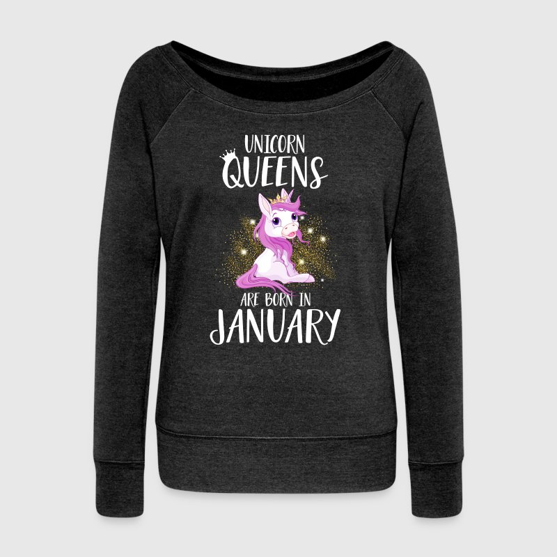 UNICORN QUEENS ARE BORN IN JANUARY - Frauen Pullover mit U-Boot-Ausschnitt von Bella