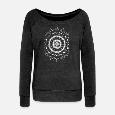 Mandala Flowers Mandala Black White Gift pattern beautiful - Women's Boat Neck Long Sleeve Top