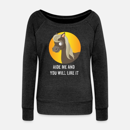 Sex Long sleeve shirts - sex - Women's Wide-Neck Sweatshirt heather black