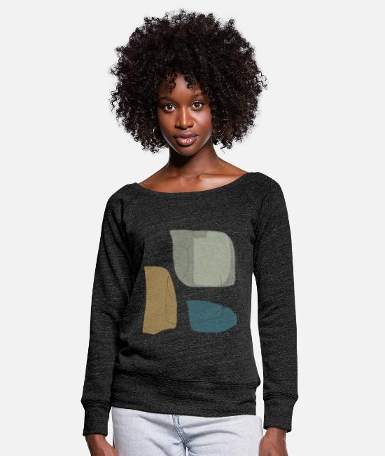 Graphics Long-Sleeved Shirts - Minimalistic abstract background N3 - Women's Wide-Neck Sweatshirt heather black