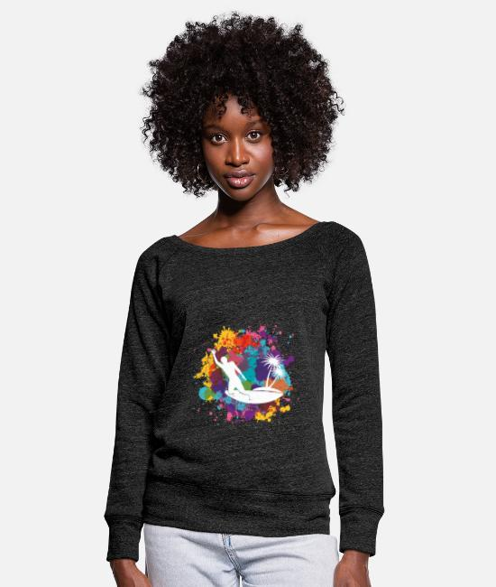 Life Force Long sleeve shirts - life surfing - Women's Wide-Neck Sweatshirt heather black