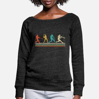 Baseball Baseball Retro Vintage Baseball Lover Fathers Day - Women's Wide-Neck Sweatshirt
