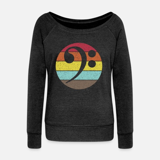 Clef Long sleeve shirts - Bass Clef. Bass clef vintage distressed - Women's Wide-Neck Sweatshirt heather black