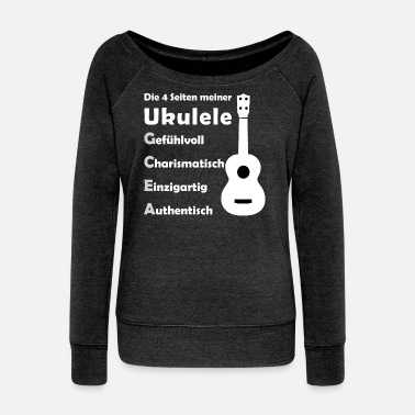 The 4 sides of your ukulele - Women's Wide-Neck Sweatshirt